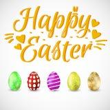 Szczęśliwa Wielkanocna wakacje karta z jajkami również zwrócić corel ilustracji wektora royalty ilustracja