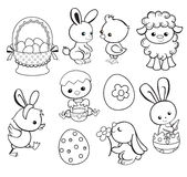 Szczęśliwa Wielkanocna wakacyjna ilustracja z ślicznym kurczakiem, królik, kaczka, baranek royalty ilustracja