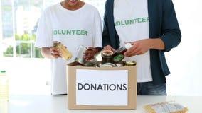 Szczęśliwa wolontariusz drużyna pakuje karmowego darowizny pudełko zdjęcie wideo