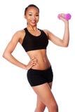 Szczęśliwa zdrowa czarna azjatykcia kobieta z dumbbell Zdjęcia Stock