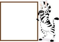Szczęśliwa zebra Z drewnianym znakiem Zdjęcia Stock