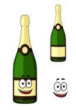 Szczęśliwa zielona butelka luksusowy szampan Zdjęcia Stock