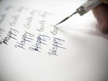 Szczęśliwa ziemskiego dnia kaligrafia i lattering Fotografia Royalty Free