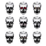 Szczęśliwe czaszki emoci ikony ustawiać Ilustracji
