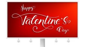 szczęśliwe dni valentines Billboard z projektem typografia i nowożytna kaligrafia w roczniku, modnisia styl handwritten royalty ilustracja