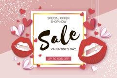 szczęśliwe dni valentines czerwone usta dodatkowy sztandar był może format rozmieniona sprzedaż licytant Origami czerwień, biali  royalty ilustracja