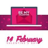 szczęśliwe dni valentines Laptop z odkrywa Wektorowa płaska ilustracja royalty ilustracja