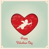 szczęśliwe dni valentines Realistyczna 3D Kolorowa rewolucjonistka Stary retro rocznika grunge Porysowany, uszkadzający, brudzi s Fotografia Royalty Free
