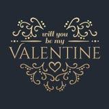 szczęśliwe dni valentines Złoty literowanie Zdjęcia Stock
