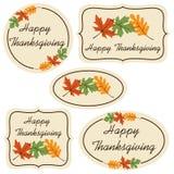 Szczęśliwe dziękczynienie etykietki z liśćmi Zdjęcie Royalty Free