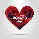 szczęśliwe dzień matki Wektorowa Świąteczna Wakacyjna ilustracja Z literowania I czerwieni róży sercem Zdjęcia Royalty Free