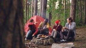 Szczęśliwe dziewczyny i facetów przyjaciele są opowiadający, gestykulujący i śmiający się odpoczywać wokoło pożarniczy dostawać c zbiory wideo