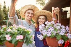 Szczęśliwe faceta i dziewczyny ogrodniczki w słomianych kapeluszy chwycie puszkują z cudowną petunią w ogródzie na świetle słonec fotografia stock