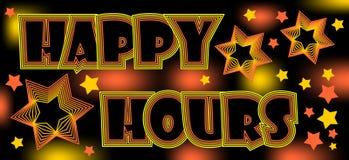 Szczęśliwe godziny szalony spektakularny billboard dla restauraci lub dyskoteka, piją przy rabatem ilustracji
