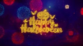 Szczęśliwe Halloweenowe powitanie teksta błyskotania cząsteczki na barwionych fajerwerkach