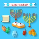 Szczęśliwe Hanukkah płaskie wektorowe ikony ustawiać z dreidel grze, monety, ręka Miriam, palma David, gwiazda dawidowa, menorah,