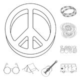 Szczęśliwe i atrybut konturu ikony w ustalonej kolekci dla projekta Szczęśliwa i akcesoria wektorowa symbolu zapasu sieć ilustracja wektor