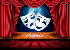 Szczęśliwe i smutne teatr maski, Teatralnie scena z czerwonymi zasłonami projekta ilustraci zapasu use wektor twój royalty ilustracja