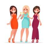 Szczęśliwe kobiety świętują szkła szampan i trzymają Spotkanie dziewczyny royalty ilustracja