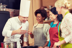 Szczęśliwe kobiety i szefa kuchni kucbarski kucharstwo w kuchni Zdjęcie Stock