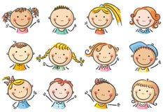 Szczęśliwe kreskówka dzieciaków twarze ilustracja wektor