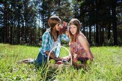 Szczęśliwe młode dziewczyny z owocowym koszem Zdjęcia Royalty Free