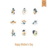 Szczęśliwe matka dnia ikony Zdjęcie Royalty Free