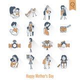 Szczęśliwe matka dnia ikony Zdjęcia Royalty Free