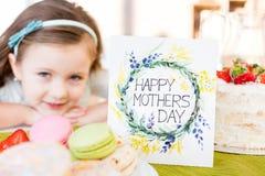 szczęśliwe matki karciany dzień Fotografia Stock