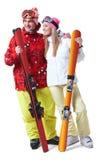 szczęśliwe narciarki zdjęcie stock