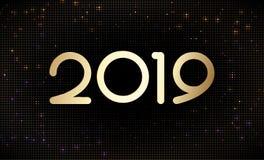 Szczęśliwe Nowe 2019 rok złote liczby na błyskotliwym halftone deseniują tło ilustracja wektor