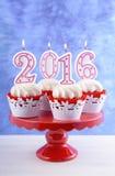 Szczęśliwe nowego roku 2016 babeczki Fotografia Royalty Free