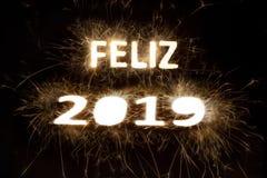 Szczęśliwe roku 2019 iskry i ogień ilustracja wektor