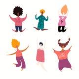 Szczęśliwe skokowe kobiety ustawiać royalty ilustracja