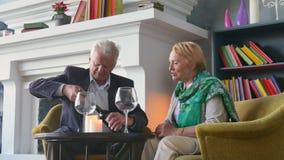 Szczęśliwe starsze osoby dobierają się pić wino, opowiadać i ono uśmiecha się, zdjęcie wideo