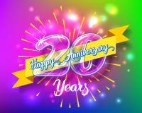 Szczęśliwe 20th rocznicowe szklanej żarówki liczby ustawiać Obraz Royalty Free