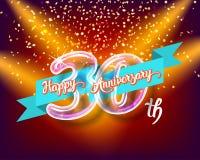 Szczęśliwe 30th rocznicowe szklanej żarówki liczby ustawiać Obrazy Stock