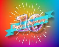 Szczęśliwe 10th rocznicowe szklanej żarówki liczby ustawiać Zdjęcie Stock