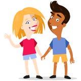 Szczęśliwe uśmiechnięte międzyrasowe kreskówki pary mienia ręki ilustracji