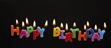 szczęśliwe urodzinowe świeczki Obrazy Royalty Free