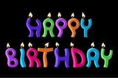 szczęśliwe urodzinowe świeczki Fotografia Royalty Free