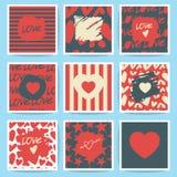 Szczęśliwe valentines pielenia i dnia karty Set Obrazy Royalty Free