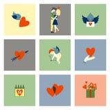 Szczęśliwe walentynka dnia ikony Fotografia Stock