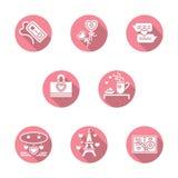 Szczęśliwe walentynka dnia round różowe ikony ilustracji