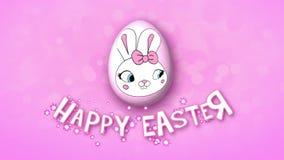 Szczęśliwe Wielkanocne animacja tytułu przyczepy 50 FPS bąbli menchie ilustracji