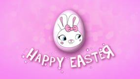 Szczęśliwe Wielkanocne animacja tytułu przyczepy 25 FPS bąbli menchie royalty ilustracja