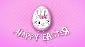 Szczęśliwe Wielkanocne animacja tytułu przyczepy 50 FPS kropek menchie ilustracji