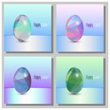 Szczęśliwe Wielkanocne karty Ustawiać - 3d Wielkanocni jajka z abstrakcjonistycznym trójboka wzorem ilustracji