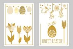Szczęśliwe Wielkanocne karty ustawiają z zając, kwitnącymi tulipanami i ozdobnymi jajkami, Fotografia Royalty Free