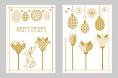 Szczęśliwe Wielkanocne karty ustawiają z zając, kwitnącymi tulipanami i ozdobnymi jajkami, Zdjęcia Royalty Free